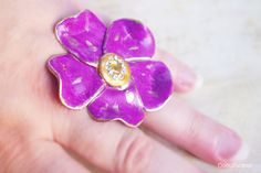 Large Purple Daisy Ring Bronze Adjustable Band by CocoFlowerShop