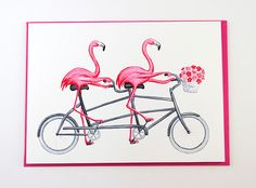 Pink flamingos on a tandem bicycle. Card by Amelie Legault, who has lots of flamingo prints in her shop.