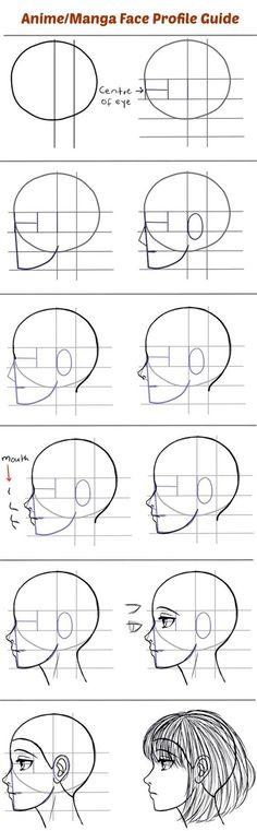 Drawing Portraits - Para aqueles que têm dificuldade em desenhar mangá de perfil. - Discover The Secrets Of Drawing Realistic Pencil Portraits.Let Me Show You How You Too Can Draw Realistic Pencil Portraits With My Truly Step-by-Step Guide. Drawing Lessons, Drawing Techniques, Drawing Tips, Drawing Reference, Drawing Sketches, Pencil Drawings, Painting & Drawing, Art Drawings, Drawing Portraits