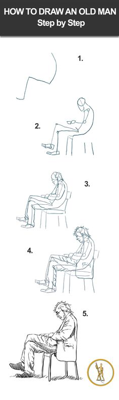 How to draw an old man step by step. #drawinglessons