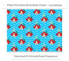 FreeDeep Sky Blue Chevron Large Ariel Pattern Paper - The Little Mermaid