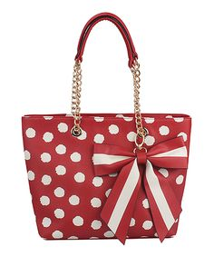 Look at this Red Bow Polka Dot Tote on #zulily today!