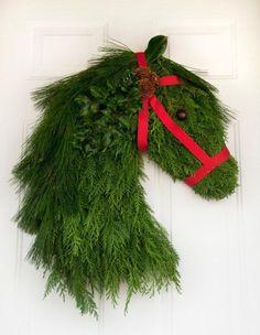 Real Pine & Cedar Horse Head Wreath - Holiday Christmas for Equine Lovers - Pine Cone horsehead door Ohio Buckeye Holly Handmade