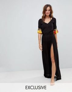 Akasa Tassel Trim Maxi Beach Dress