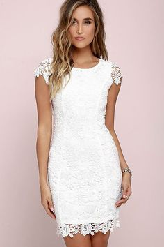 We admire any girl who can put together a great outfit but honestly the Hidden Talent Backless Ivory Lace Dress makes it easy! This beautiful bodycon dress has sheer cap sleeves and a backless design (with top button). Hidden back zipper/hook clasp. Pencil Dress With Sleeves, Dresses With Sleeves, Cap Sleeves, Short Sleeves, Trendy Dresses, Nice Dresses, Casual Dresses, White Bridal Shower Dress, Shower Dresses