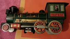 Old Rare Western Train Engine Litho Print Tin Toy, Made in Japan