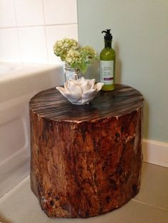 Pinned it - Made it!  Tree stump stool for our bathroom.