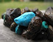 Rough Gemstone Bracelet Blue Teal Turquoise Raw Amber Black Dark Baltic Earthy Chunky Colors Summer Eco Fashion Jewelry Natural Stone