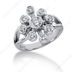 US-FR1083 14KW  Flower style ring with open shank  9 diamonds = 0.69ctw