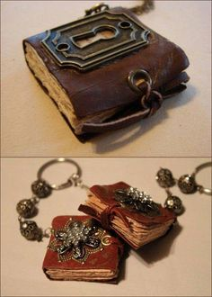 Mini Book Necklaces and Keychains Tutorial  Great gift idea  this has alot of possibilities, a mini book of shadows or favorite book or mini fairy book for a fairy house