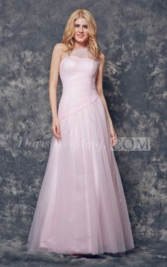 Elegant One Shoulder Ruched Long Tulle Bridesmaid Dress. Let dorswedding.com make you bid day even more special with our variety of bridesmaid dresses! FREE SHIPPING! #long #pink #blush #DorisWedding.com