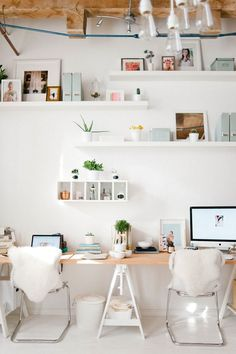 To make an extra-long desk, add a third sawhorse, as shown above from a tour of Le Petite Studio's office on The Everygirl.