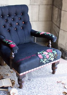 Feeling inspired to add floral patches and embroidered words to a chair