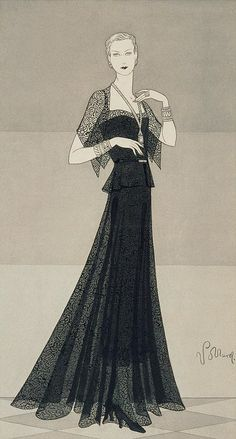 An illustration of a woman wearing a black dress and cape by Chanel, Vogue March 1930 by Douglas Pollard