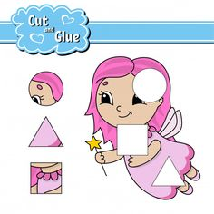 Cut and glue. New Puzzle, Cut And Paste, Toddler Learning, Worksheets For Kids, Writing Skills, Baby Prints, Activities For Kids, Vector Free, Classroom
