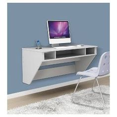 """Optimize your space with Prepac's Designer Floating Desk. Perfectly suited for any home office, den, living room, kitchen or bedroom. The stable work surface is ideal for any computer or simply as a place to get your work done. A rear """"flip-up"""" door conceals a storage compartment that is ideal for power bars and adapters. No more messy wires cluttering up your workspace! Installation is a breeze for this wall mounted desk with Prepac..."""