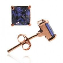 18K Rose Gold over Sterling Silver Tanzanite CZ 6mm Square Stud Earrings