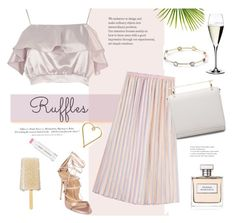 """Ruffles"" by rever-de-paris ❤ liked on Polyvore featuring River Island, H&M, Dsquared2, Jane Iredale, Lee Renee, Marco de Vincenzo, M2Malletier, Ralph Lauren, Ippolita and Riedel"