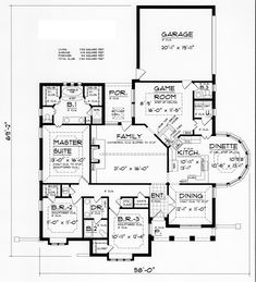 First Floor Plan of European   Tudor   House Plan 60824