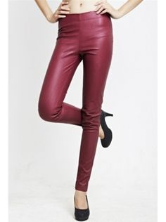 wine red high waist PU leather long pants
