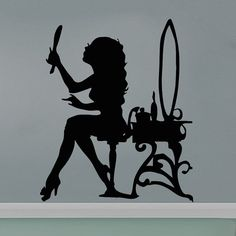 Woman Girl Hair Wall Decals Vinyl Sticker Decal Wall от CozyDecal
