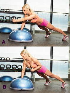 The Secret to a Killer Core + 7 Dynamic Core Exercise Moves #core #abs #fitness Side Lunge with Lateral Raise, Bosu Squat Jump and Hold, Single-Leg Shoulder Press with Leg Extension, Bosu Single-Arm Chest Press with Leg Lift, Double Bosu Incline Pushup, Single-Leg Medicine Ball Deadlift, Bosu Cable Row from Plank