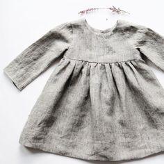 Handmade Long Sleeved Linen Baby Toddler Dress | BloomingKiwi on Etsy #VintageKidsFashion Toddler Girl Style, Toddler Girl Outfits, Toddler Dress, Baby Style, Baby Outfits, Baby Dress, Baby Girl Fashion, Toddler Fashion, Vintage Kids Fashion