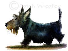Scottie Dog Art Print Scottish Terrier by ArchyScottie on Etsy