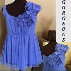 Periwinkle Colored Top This top is so pretty gorgeous periwinkle color with a cute flower design on the sideWorn once in great conditionSize Medium Midnight Velvet Tops Tank Tops