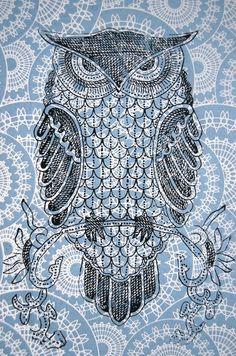Owl print on handmade spirograph paper 11 x 14 от Baby Barn Owl, Owl Bags, Henna Body Art, Felt Owls, Owl Pictures, Spirograph, Bird Artwork, Owl Print, Oeuvre D'art