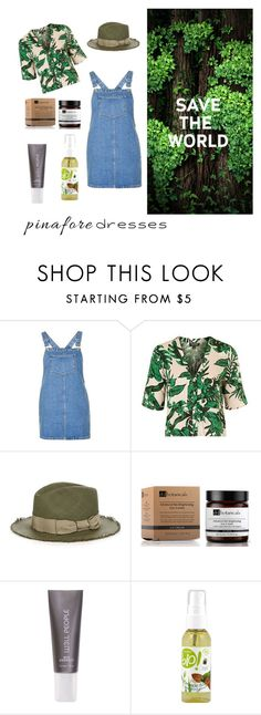 """Go green"" by olivia-pastin ❤ liked on Polyvore featuring Topshop, Filù Hats, Dr Botanicals, W3LL People, pinafores and 60secondstyle"