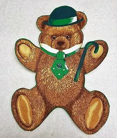 Vintage Large St. Paddy Teddy Bear Iron On Applique 13 x 10