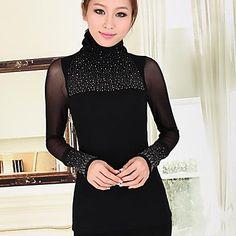 SHANGFEI™ Women's Fashion High Collar Long Sleeve Shirt 2015 – kr.128