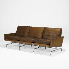 Poul Kjaerholm and E. Kold Christensen; #PK31-3 Leather and Matte Chromed Steel Sofa, 1958.