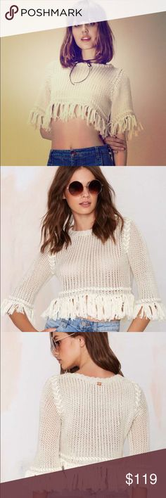 🆕 FL&L Cropped Ivory Sweater Size L NWT For Love & Lemons ivory cropped/fringe hem sweater size Large. Brand new in original plastic packaging. Please ask any questions you may have prior to purchasing 💞                     ❌No Trades❌ For Love and Lemons Sweaters
