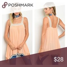 Peach Spaghetti strap crochet ruffle hem tunic top Very cute for a cool evening. Tops Tank Tops