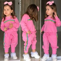 Cute Kids Fashion, Baby Girl Fashion, Toddler Fashion, Mom And Baby Outfits, Kids Outfits, Junior Girls Clothing, Girls Tracksuit, Cute Kids Photography, Cute Swag Outfits