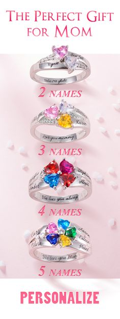 for the sparkle perfect gift? Create a one-of-a-kind personalized ring with your choice of birthstones and engravings.💝🎁Looking for the sparkle perfect gift? Create a one-of-a-kind personalized ring with your choice of birthstones and engravings. Presents For Mom, Gifts For Your Mom, Gifts For Family, Mothers Day Crafts, Mother Day Gifts, Mothers Day Rings, Cute Gifts, Diy Gifts, Anillo De Compromiso