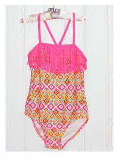 Malibu Dream Girl Girls Pink & Yellow Aztec Print One-Piece Swimsuit w/ Fringes, Size 8, 10, 12.