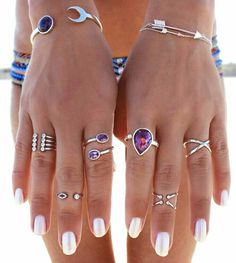 Boho Jewelry Silver And Black Summer Jewelry rings necklaces bracelets cuffs boho hippie bohemian gypsy jewelry purpurina amethyst - BALA brand new and supplied only by R