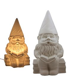 It's a reading gnome. And a lamp. Oh my gosh the cuteness. :: Porcelain Gnome Lamp