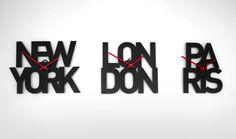 Typographic Time Zone Clocks