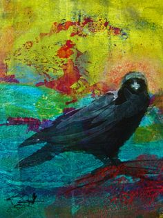 Water Way Raven, Collage by Tonja Sell | Artfinder