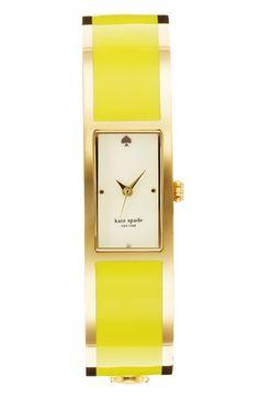 Kate Spade carousel bangle watch in yellow $250