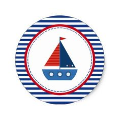 Red and Blue Sailboat Classic Round Sticker Create Your Own and Sailor Birthday, Sailor Party, Sailor Theme, Diy Holiday Gifts, Christmas Gifts For Mom, Diy Gifts, Christmas Holiday, Summer Crafts For Toddlers, Toddler Crafts