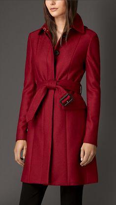 Burberry - Rosso parata Cappotto militare in lana vergine compatta - Immagine 1