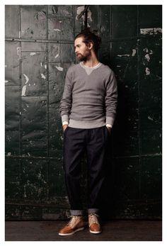 grey sweatshirt, dark denim and camel/sand ankle boots