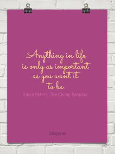 Anything in life is only as important as you want it to be. by Steve Peters, The Chimp Paradox #96540
