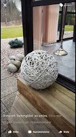 Punch ball balloon covered in concrete soaked cotton clothesline rope! So FUN! Cement Art, Concrete Cement, Concrete Crafts, Concrete Garden, Concrete Projects, Concrete Planters, Concrete Design, Garden Crafts, Garden Projects