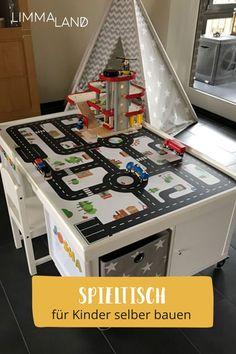 """Hier seht ihr, wie ihr einen Spieltisch mit IKEA selber bauen könnt. Dieser ist doch super gelungen! Ihr braucht dazu einfach ein KALLAX Regal von IKEA. Und schon könnt ihr diesen Spieltisch selber bauen. Mit unserer Designfolie: """"Kleine Stadt"""" wird er zum praktschen Liebling im Kinderzimmer. Alles auf: www.limmaland.com #limmaland #kindertisch #spieltisch #ikeahack"""